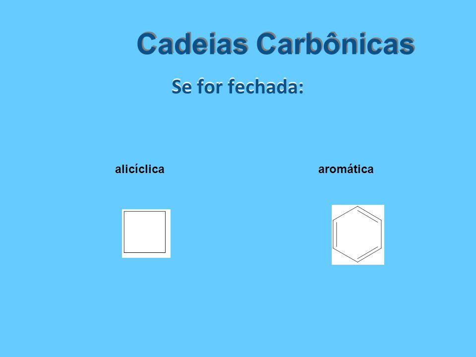 Cadeias Carbônicas Se for fechada: alicíclica aromática