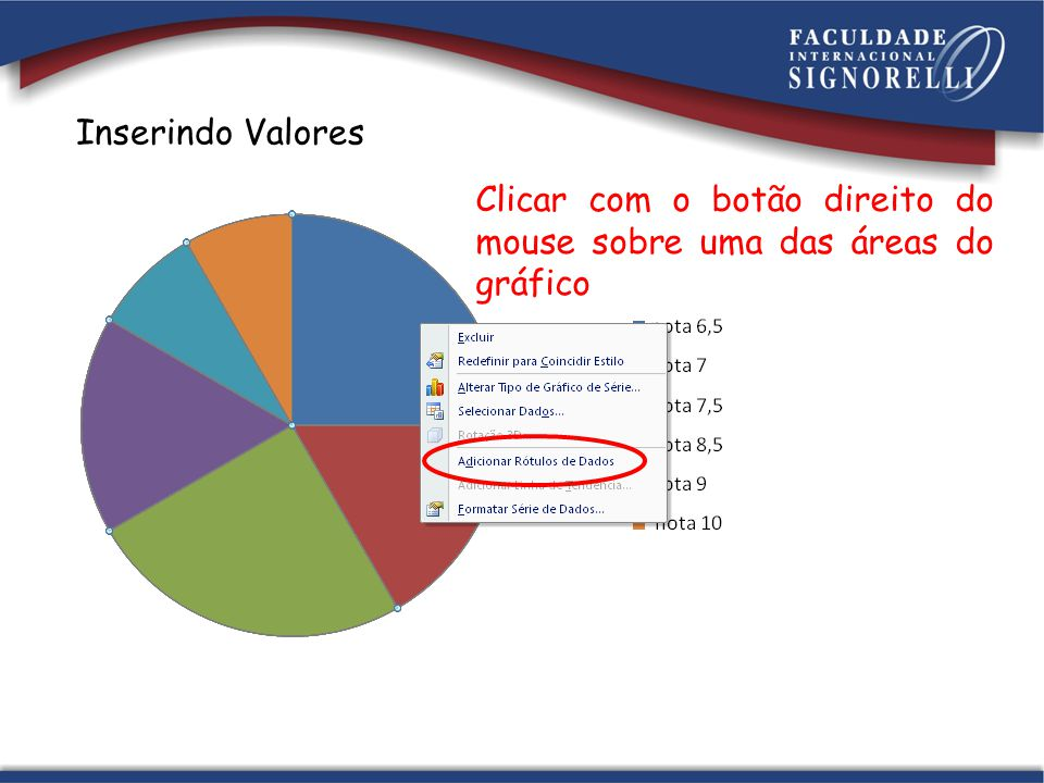 Inserindo Valores Clicar com o botão direito do mouse sobre uma das áreas do gráfico