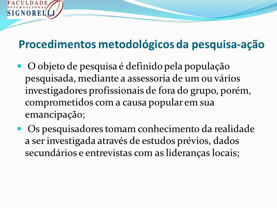 Procedimentos metodológicos da pesquisa-ação
