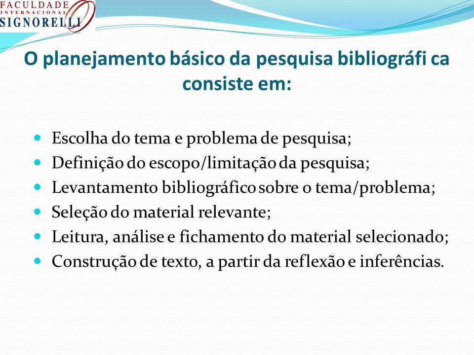 O planejamento básico da pesquisa bibliográfi ca consiste em: