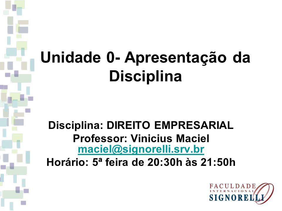 Unidade 0- Apresentação da Disciplina