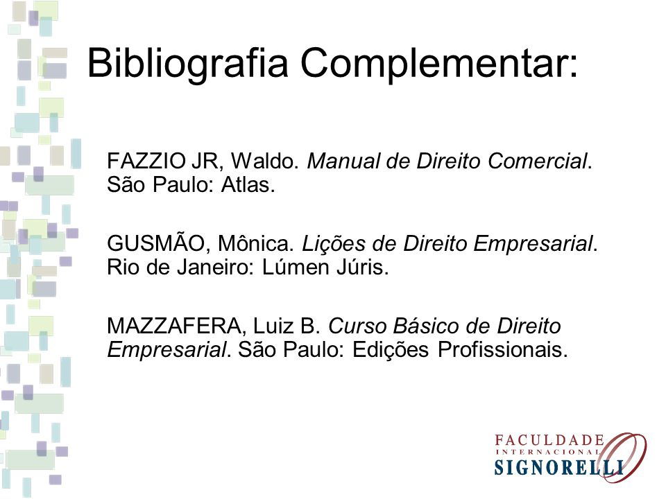 Bibliografia Complementar: