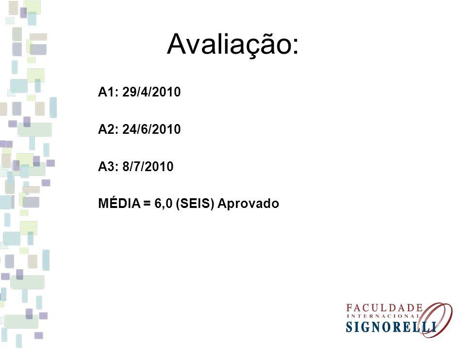 Avaliação: A1: 29/4/2010 A2: 24/6/2010 A3: 8/7/2010