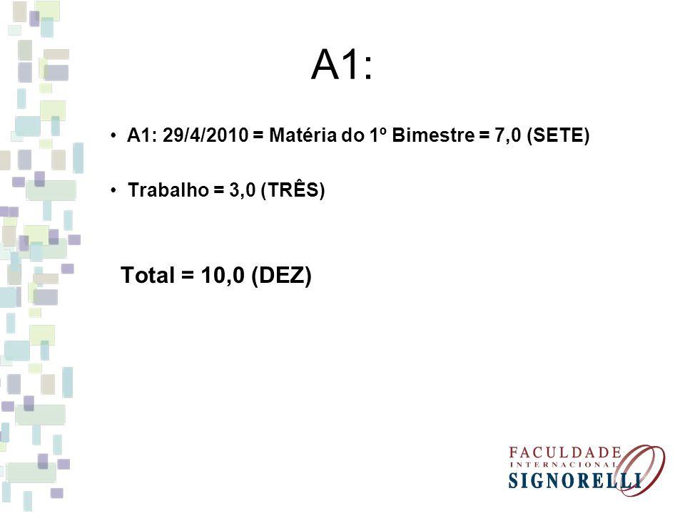 A1: A1: 29/4/2010 = Matéria do 1º Bimestre = 7,0 (SETE)
