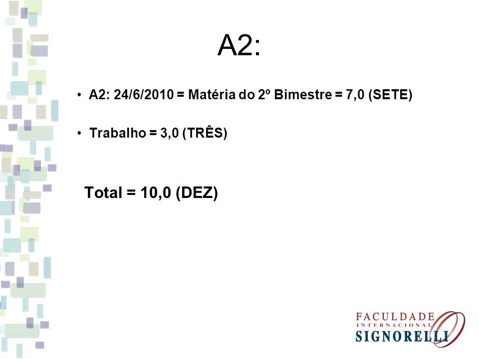 A2: A2: 24/6/2010 = Matéria do 2º Bimestre = 7,0 (SETE)