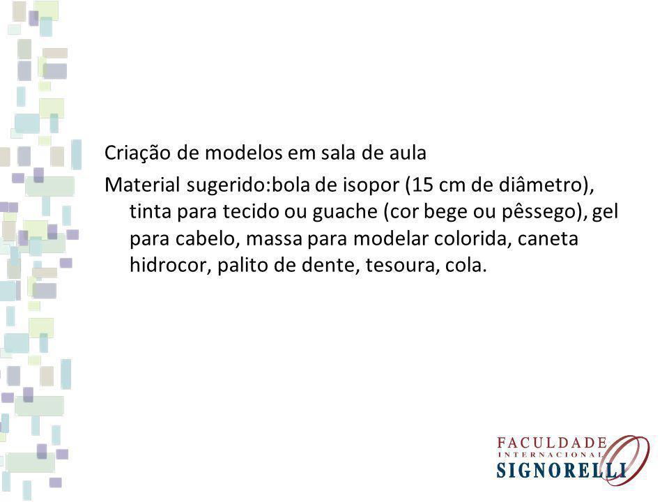 Criação de modelos em sala de aula Material sugerido:bola de isopor (15 cm de diâmetro), tinta para tecido ou guache (cor bege ou pêssego), gel para cabelo, massa para modelar colorida, caneta hidrocor, palito de dente, tesoura, cola.