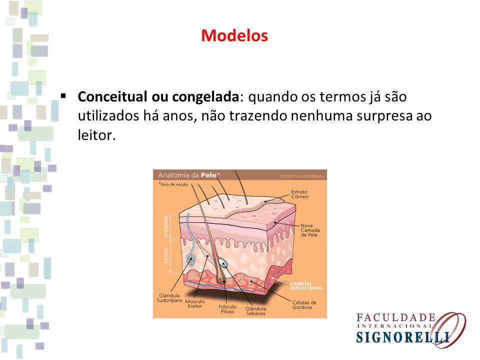 Modelos Conceitual ou congelada: quando os termos já são utilizados há anos, não trazendo nenhuma surpresa ao leitor.
