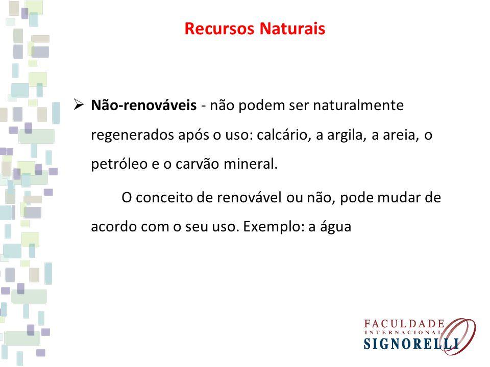 Recursos Naturais Não-renováveis - não podem ser naturalmente regenerados após o uso: calcário, a argila, a areia, o petróleo e o carvão mineral.