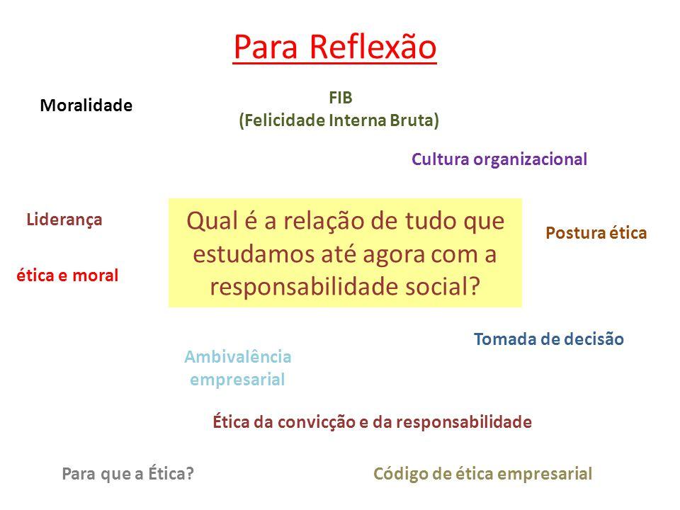 Para Reflexão FIB. (Felicidade Interna Bruta) Moralidade. Cultura organizacional.