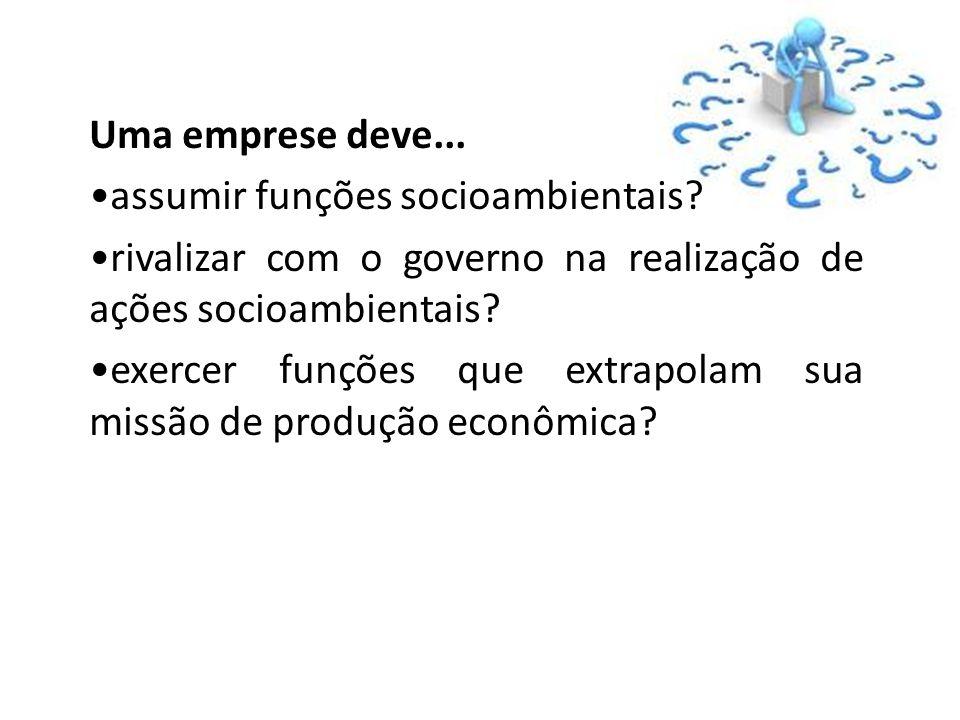 Uma emprese deve... assumir funções socioambientais rivalizar com o governo na realização de ações socioambientais