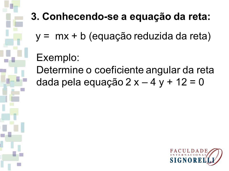 3. Conhecendo-se a equação da reta: