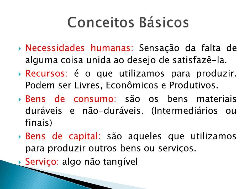 Conceitos Básicos Necessidades humanas: Sensação da falta de alguma coisa unida ao desejo de satisfazê-la.