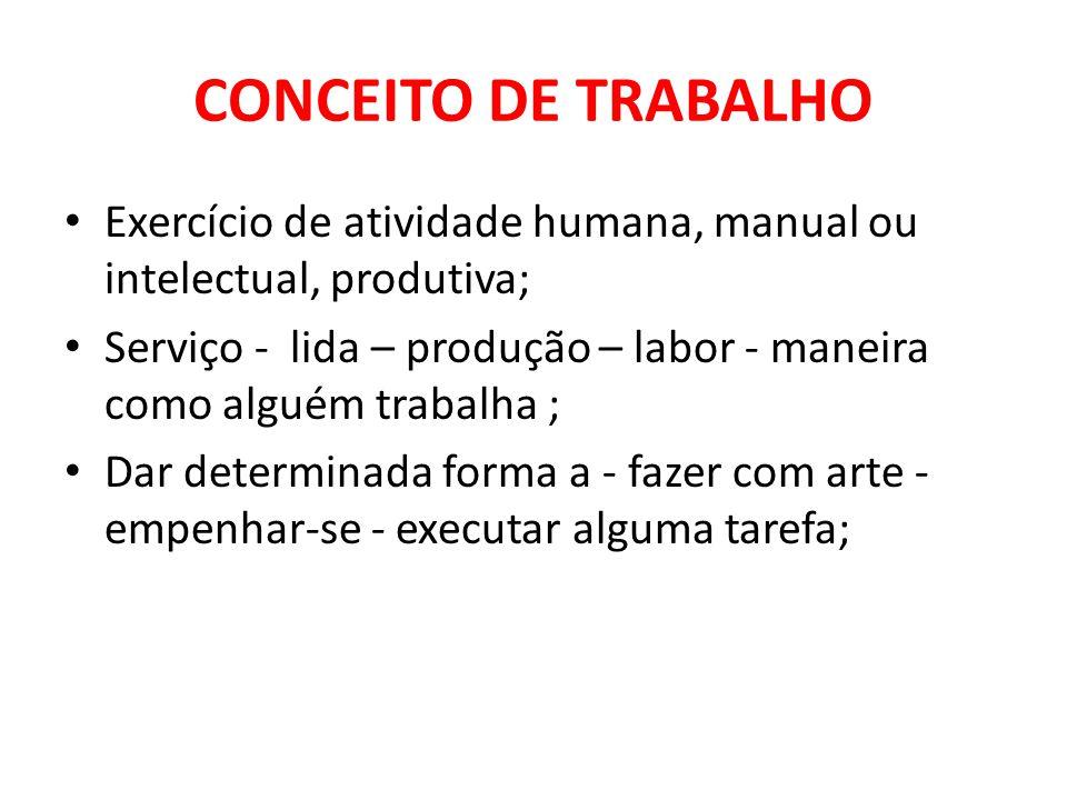 CONCEITO DE TRABALHO Exercício de atividade humana, manual ou intelectual, produtiva;
