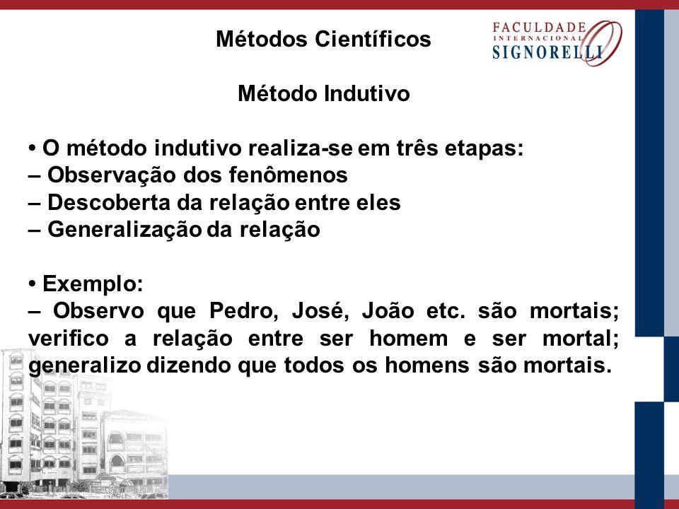 Métodos Científicos Método Indutivo. • O método indutivo realiza-se em três etapas: – Observação dos fenômenos.