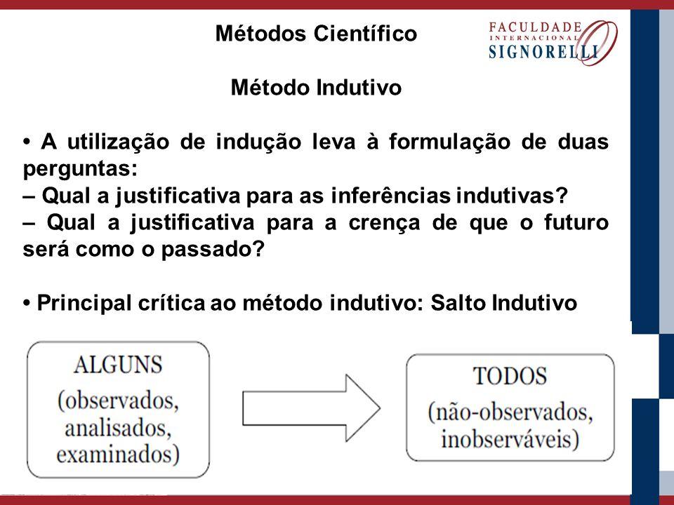 Métodos Científico Método Indutivo. • A utilização de indução leva à formulação de duas perguntas: