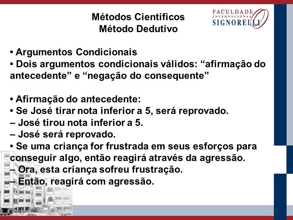 Métodos Científicos Método Dedutivo. • Argumentos Condicionais. • Dois argumentos condicionais válidos: afirmação do.