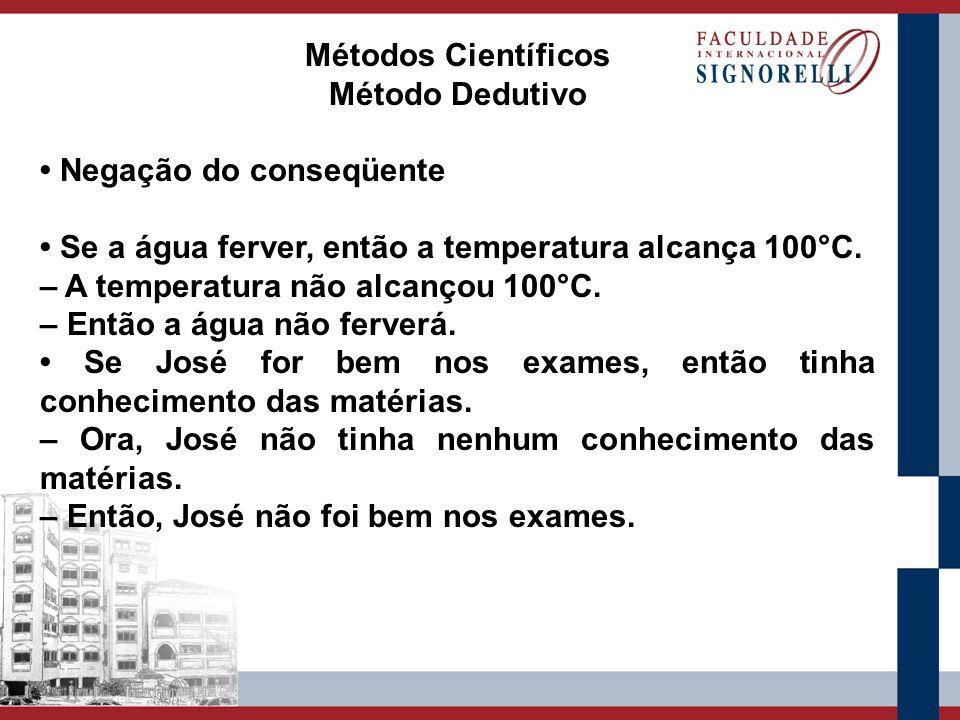 Métodos Científicos Método Dedutivo. • Negação do conseqüente. • Se a água ferver, então a temperatura alcança 100°C.