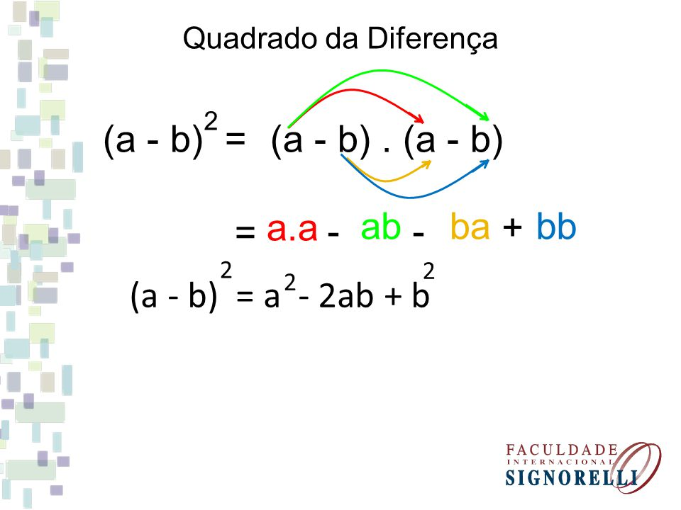 (a - b) = (a - b) . (a - b) a.a bb ab ba = - - + (a - b) = a - 2ab + b