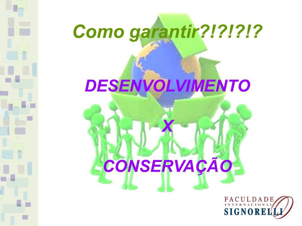 Como garantir ! ! ! DESENVOLVIMENTO X CONSERVAÇÃO
