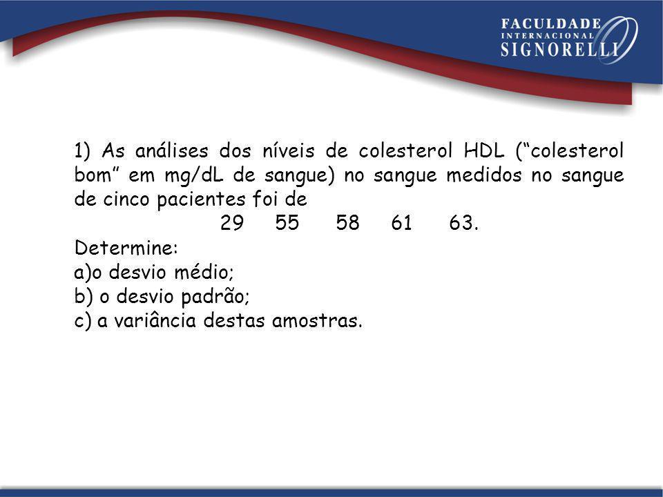 1) As análises dos níveis de colesterol HDL ( colesterol bom em mg/dL de sangue) no sangue medidos no sangue de cinco pacientes foi de