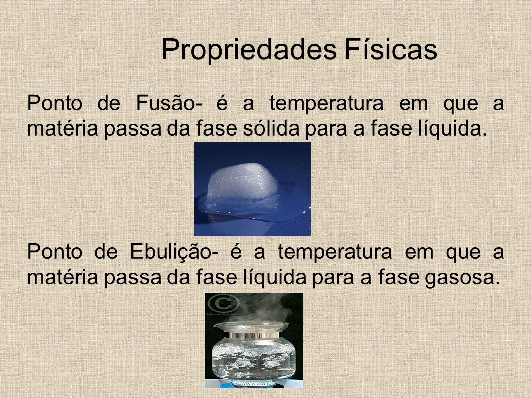 Propriedades Físicas Ponto de Fusão- é a temperatura em que a matéria passa da fase sólida para a fase líquida.