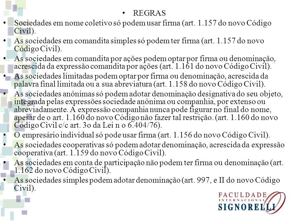 REGRAS Sociedades em nome coletivo só podem usar firma (art. 1.157 do novo Código Civil).