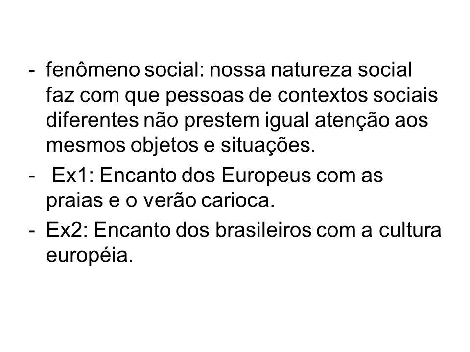 fenômeno social: nossa natureza social faz com que pessoas de contextos sociais diferentes não prestem igual atenção aos mesmos objetos e situações.