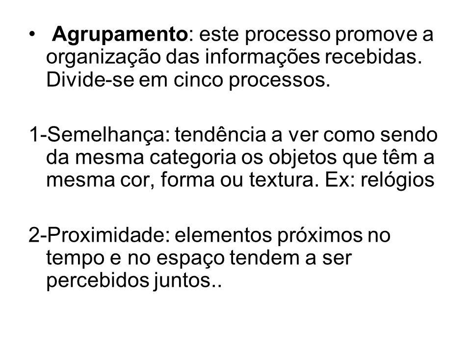 Agrupamento: este processo promove a organização das informações recebidas. Divide-se em cinco processos.