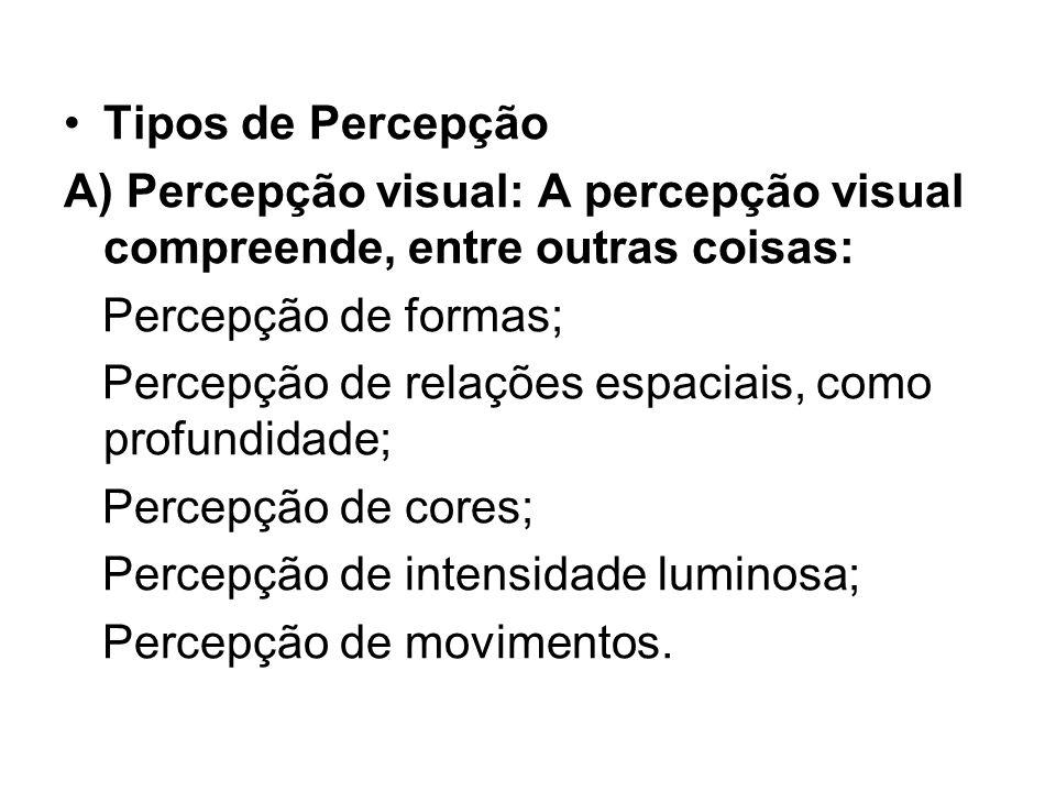 Tipos de Percepção A) Percepção visual: A percepção visual compreende, entre outras coisas: Percepção de formas;