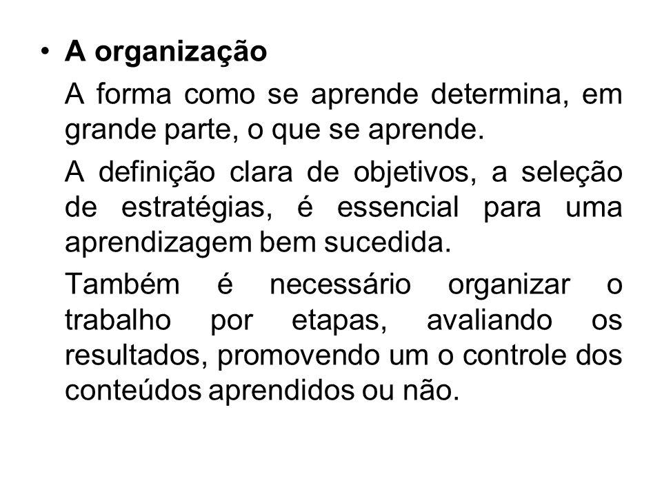A organização A forma como se aprende determina, em grande parte, o que se aprende.