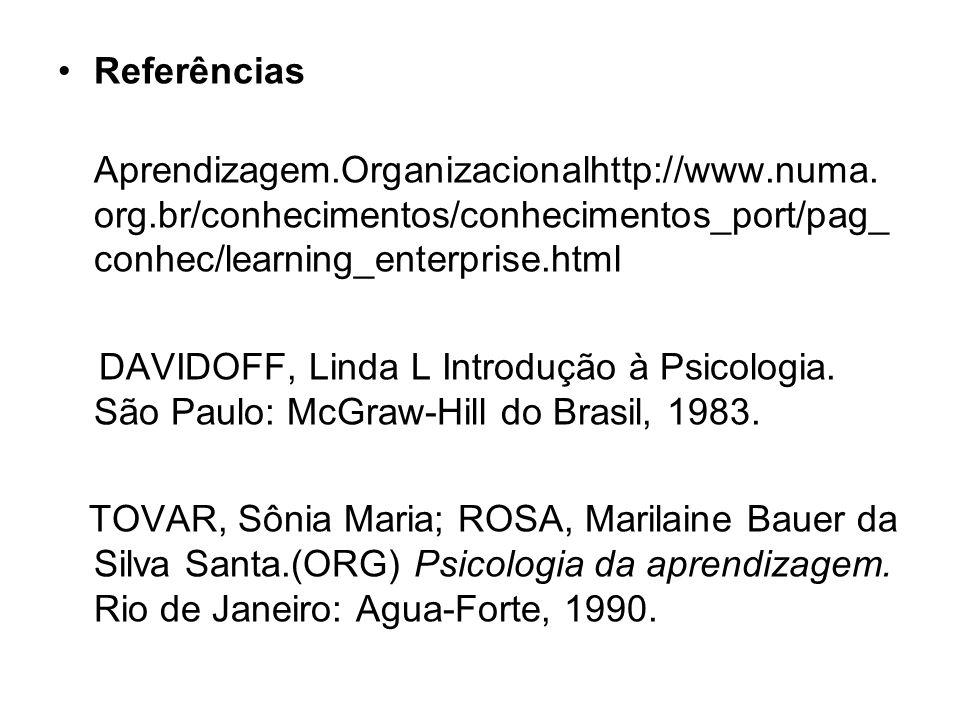 Referências Aprendizagem.Organizacionalhttp://www.numa.org.br/conhecimentos/conhecimentos_port/pag_conhec/learning_enterprise.html.