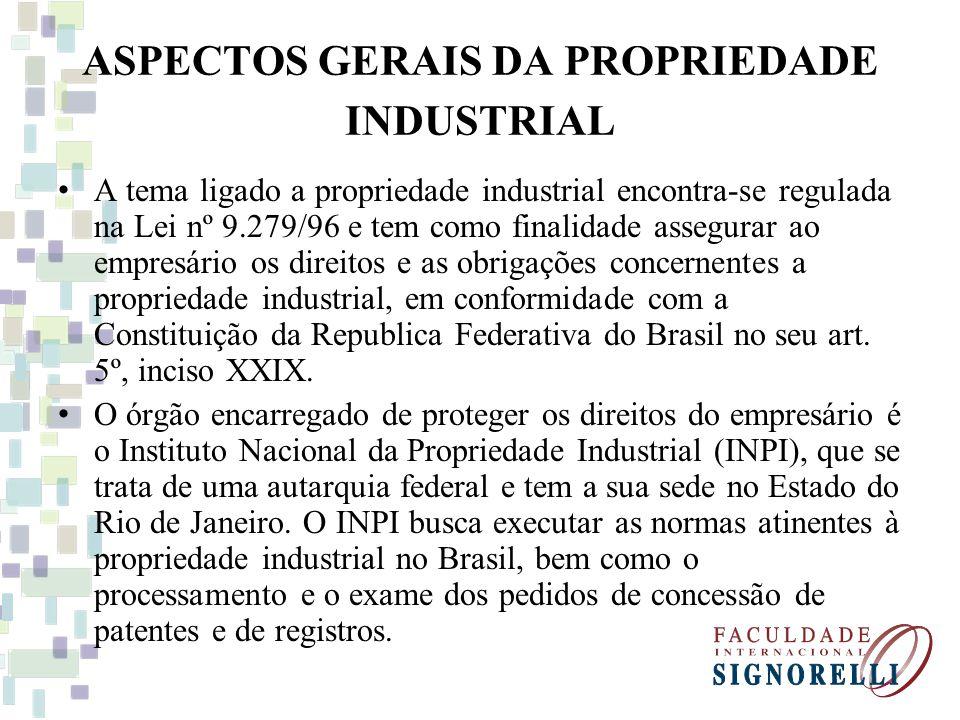 ASPECTOS GERAIS DA PROPRIEDADE INDUSTRIAL