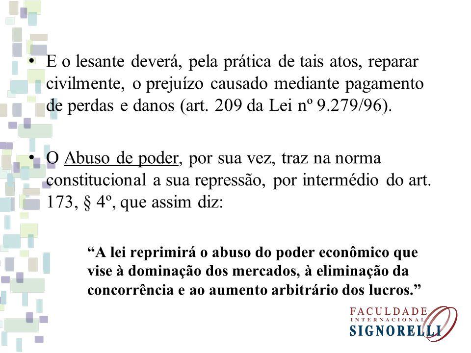 E o lesante deverá, pela prática de tais atos, reparar civilmente, o prejuízo causado mediante pagamento de perdas e danos (art. 209 da Lei nº 9.279/96).