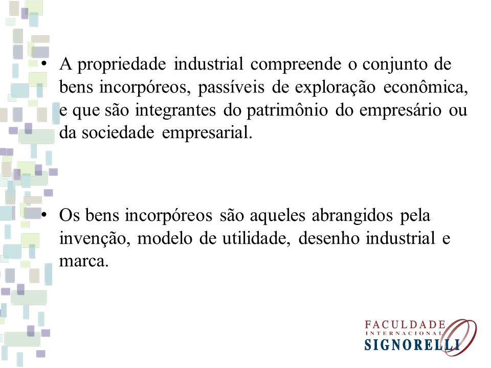 A propriedade industrial compreende o conjunto de bens incorpóreos, passíveis de exploração econômica, e que são integrantes do patrimônio do empresário ou da sociedade empresarial.