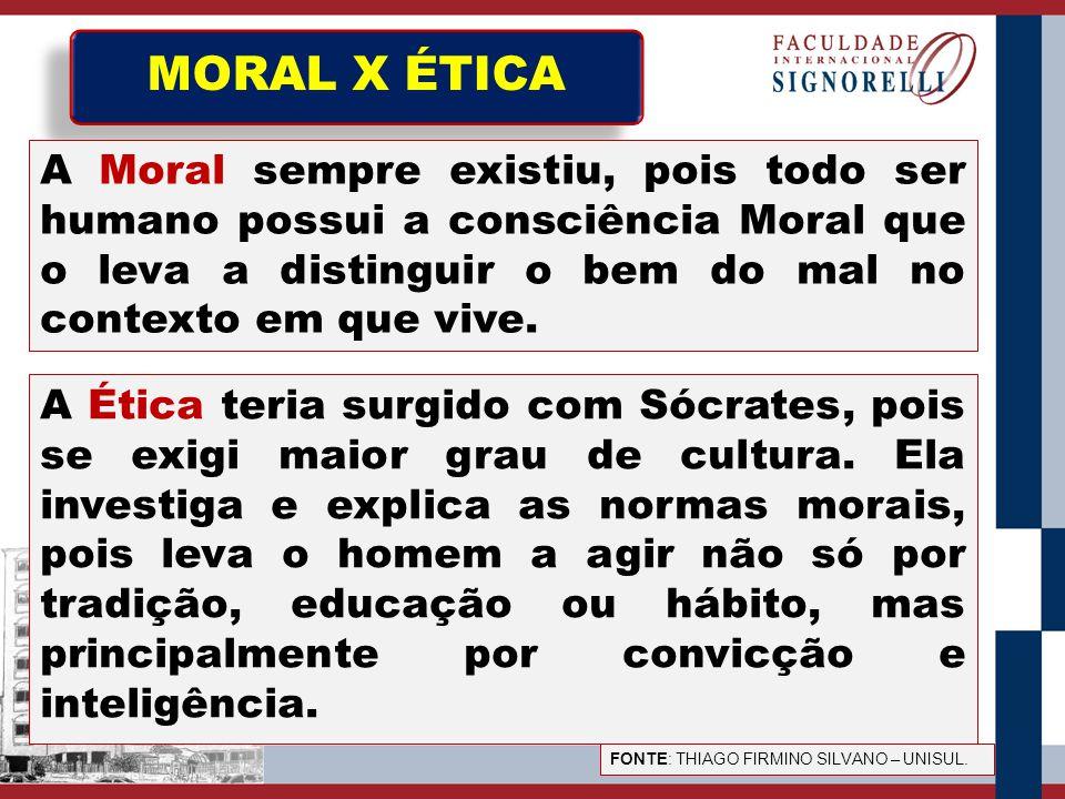MORAL X ÉTICA A Moral sempre existiu, pois todo ser humano possui a consciência Moral que o leva a distinguir o bem do mal no contexto em que vive.
