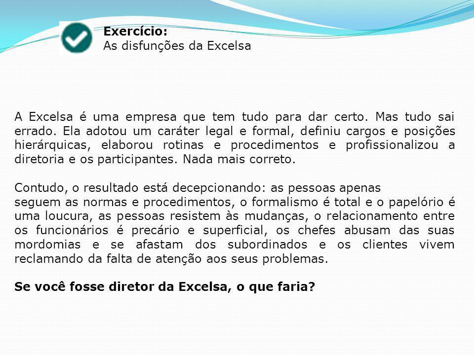 Exercício: As disfunções da Excelsa.