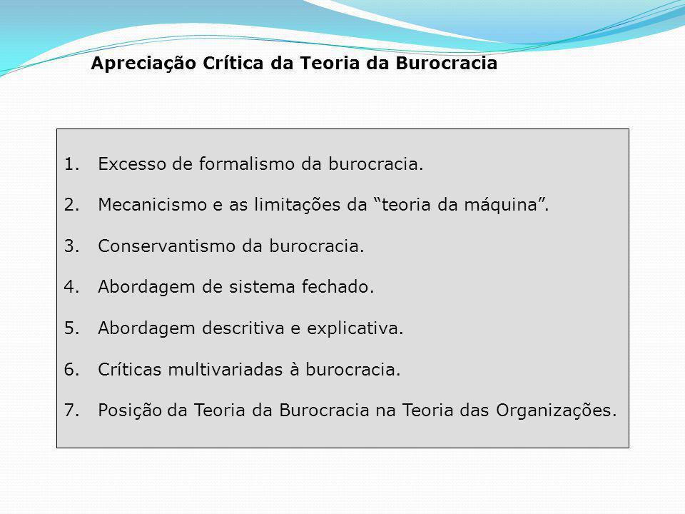 Apreciação Crítica da Teoria da Burocracia