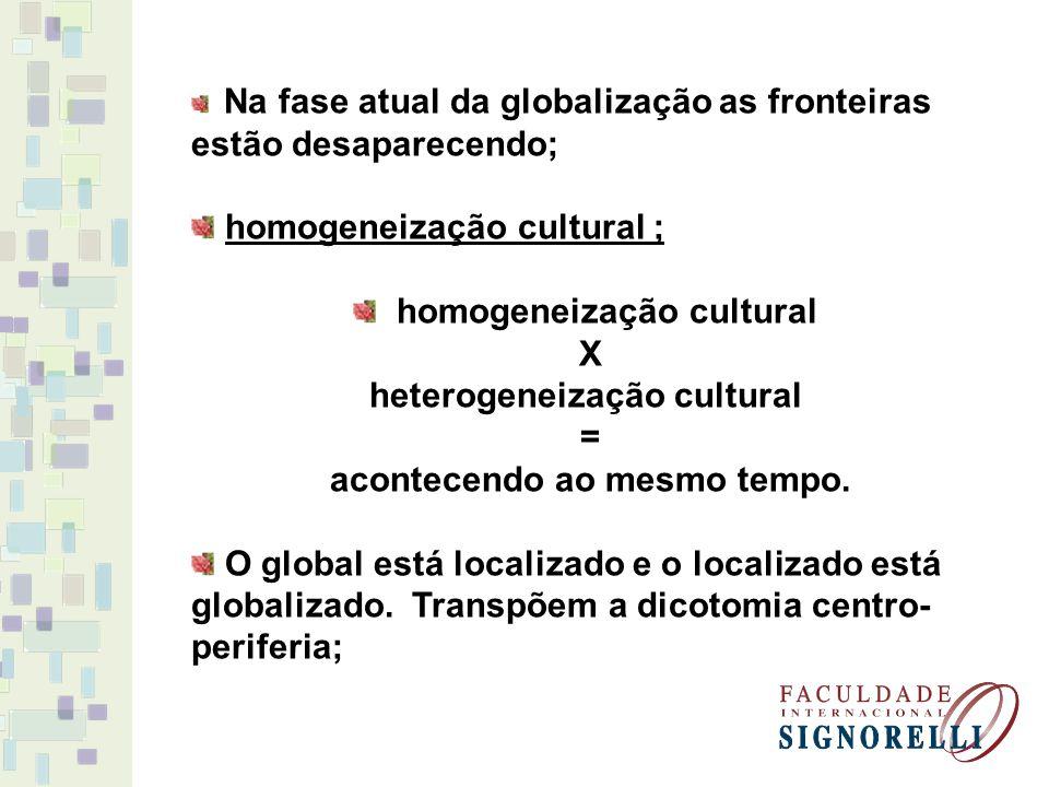 homogeneização cultural heterogeneização cultural