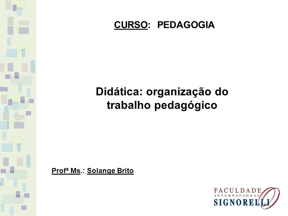 Didática: organização do trabalho pedagógico