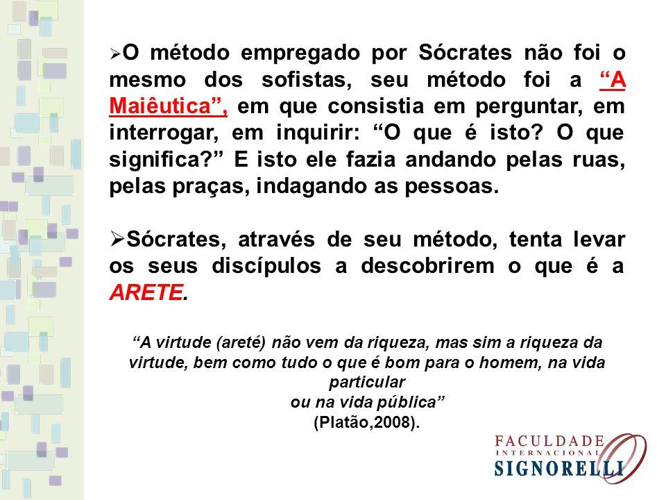 O método empregado por Sócrates não foi o mesmo dos sofistas, seu método foi a A Maiêutica , em que consistia em perguntar, em interrogar, em inquirir: O que é isto O que significa E isto ele fazia andando pelas ruas, pelas praças, indagando as pessoas.
