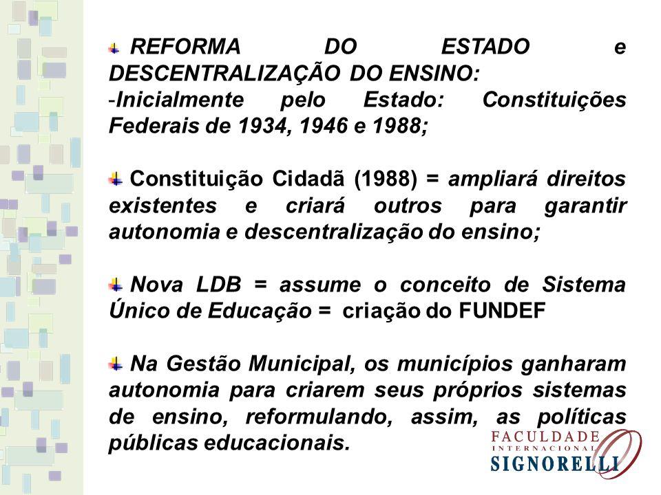 Inicialmente pelo Estado: Constituições Federais de 1934, 1946 e 1988;