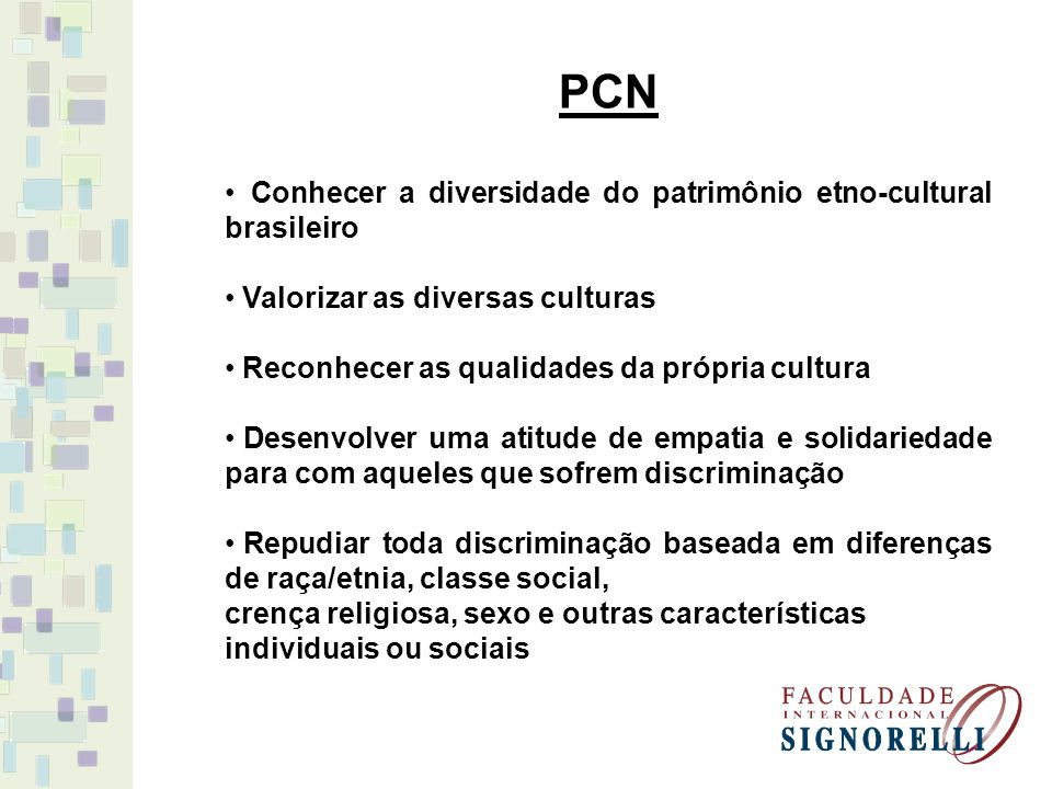 PCN Conhecer a diversidade do patrimônio etno-cultural brasileiro