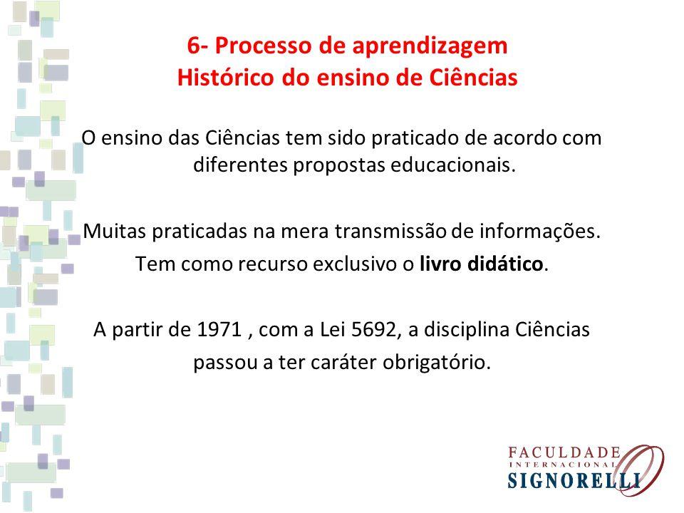6- Processo de aprendizagem Histórico do ensino de Ciências