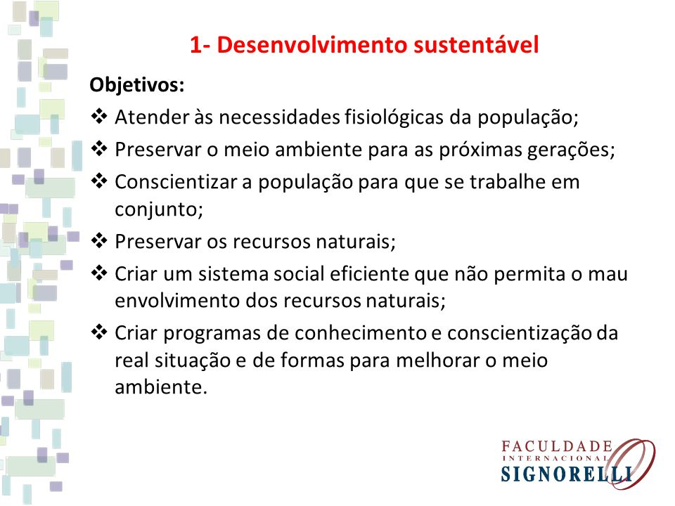 1- Desenvolvimento sustentável