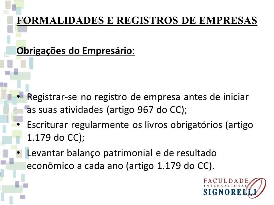 FORMALIDADES E REGISTROS DE EMPRESAS