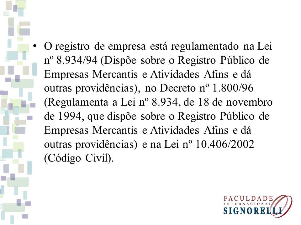 O registro de empresa está regulamentado na Lei nº 8