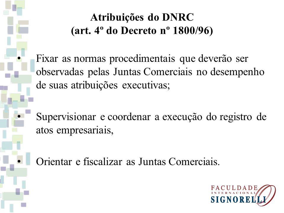 Atribuições do DNRC (art. 4º do Decreto nº 1800/96)