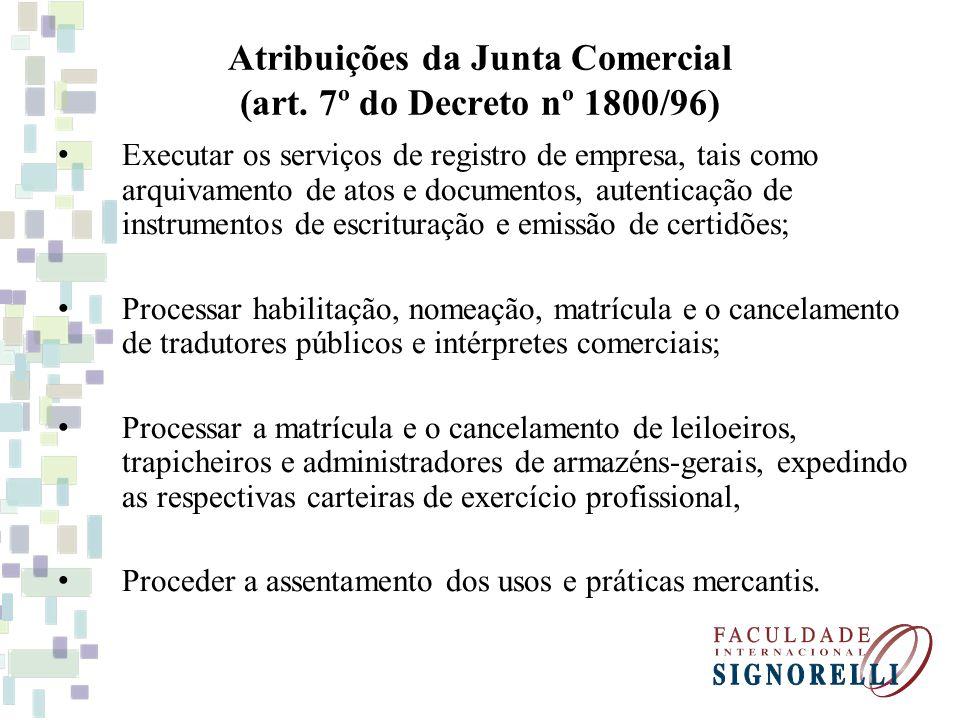 Atribuições da Junta Comercial (art. 7º do Decreto nº 1800/96)