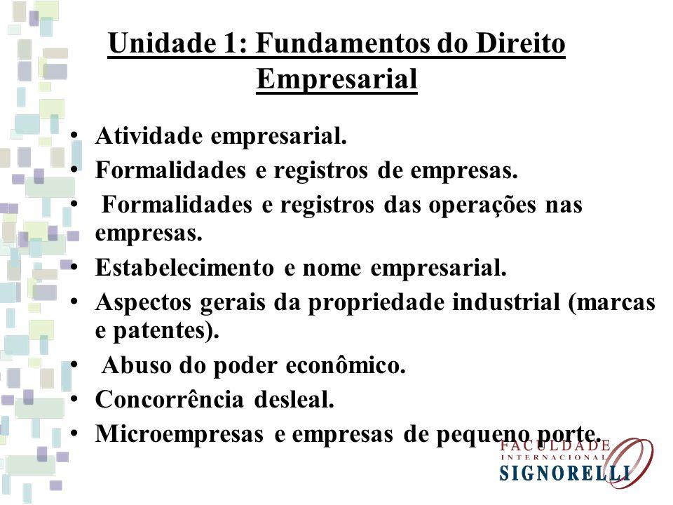Unidade 1: Fundamentos do Direito Empresarial