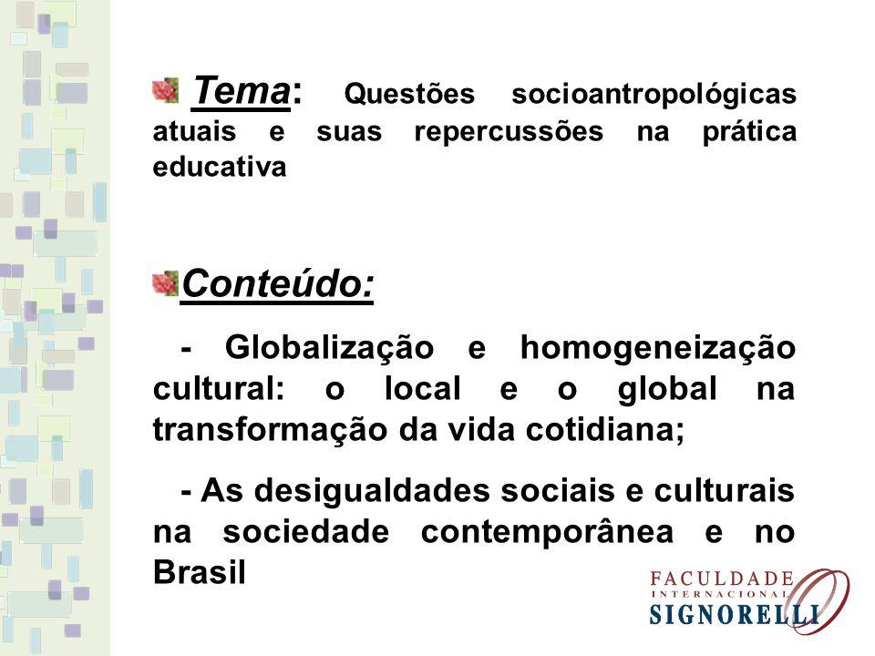 Tema: Questões socioantropológicas atuais e suas repercussões na prática educativa
